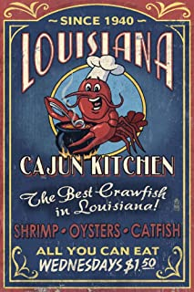 product image for Louisiana, Cajun Kitchen Crawfish Vintage Sign 44617 (12x18 SIGNED Print Master Art Print, Wall Decor Poster)