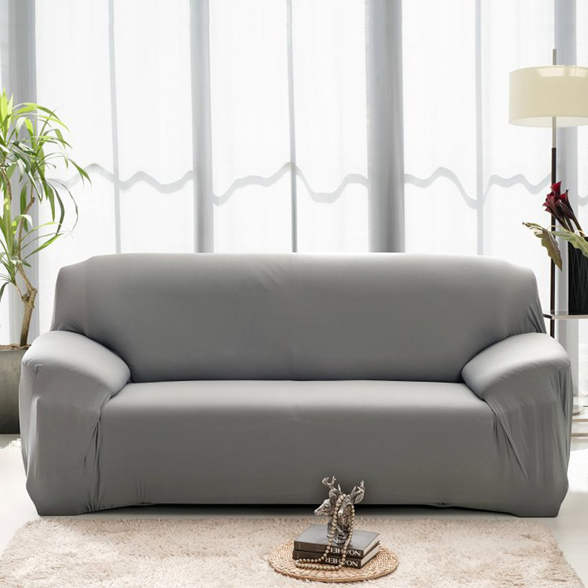 WINOMO Sofa Furniture Protector Loveseat High Elasticity Anti-mite Chair Covers Slipcover Couch 3 Seater(Grey )