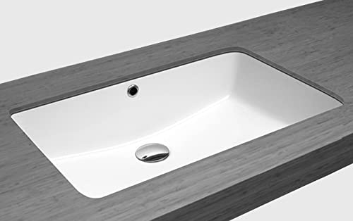 ZUHNE Undermount Bathroom Sink with Overflow, White Vitreous Enamel Rectangle 20 by 13 Bowl