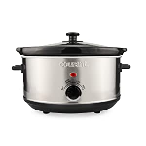 Courant Oval Slow Cooker Crock, with Easy Options 3.5 Quart Dishwasher Safe Pot, Stainless Steel