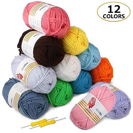 Gomitoli di Lana 12*50g Ratel Filato Lana Filati Lana Acrylico 100% per  uncinetto e lavori a maglia(12 Colori)