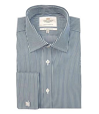 15ee3d3423 Hawes & Curtis Men's Bengal Stripe Slim Fit Long Sleeve Formal Shirt, Blue ( Navy/White), Collar 16.5 - Sleeve Length 34: Amazon.co.uk: Clothing