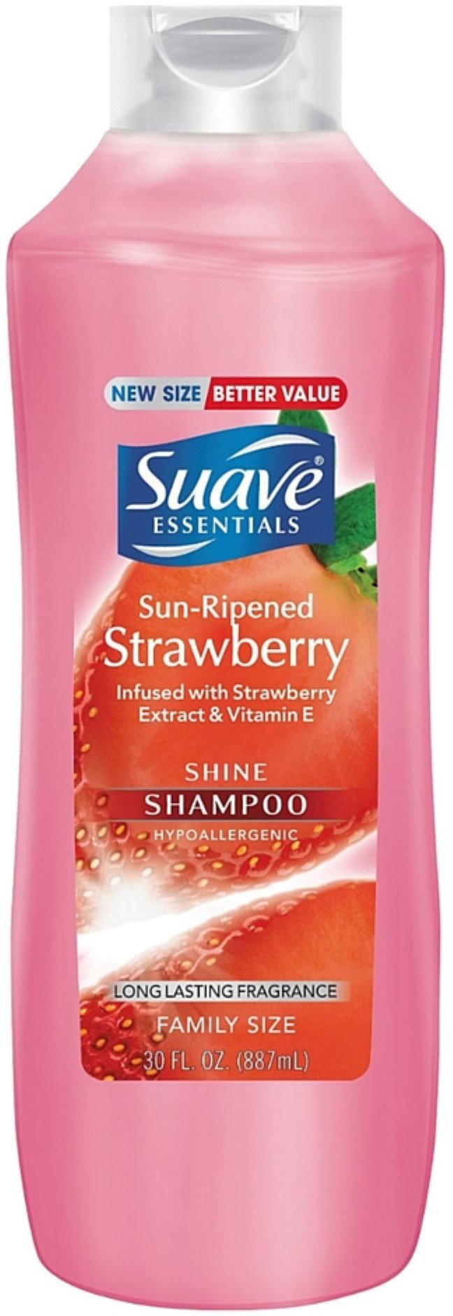 Suave Essentials Shine Shampoo, Sun Ripened Strawberry 30 oz (4 Pack) by Unilever