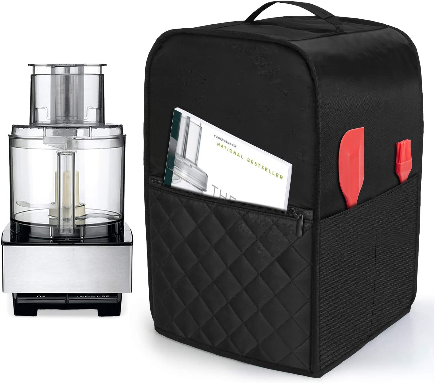 Luxja Food Processor Cover for Cuisinart and Hamilton Beach 11-14 Cup Processor, Food Processor Dust Cover with Accessories Pockets, Black