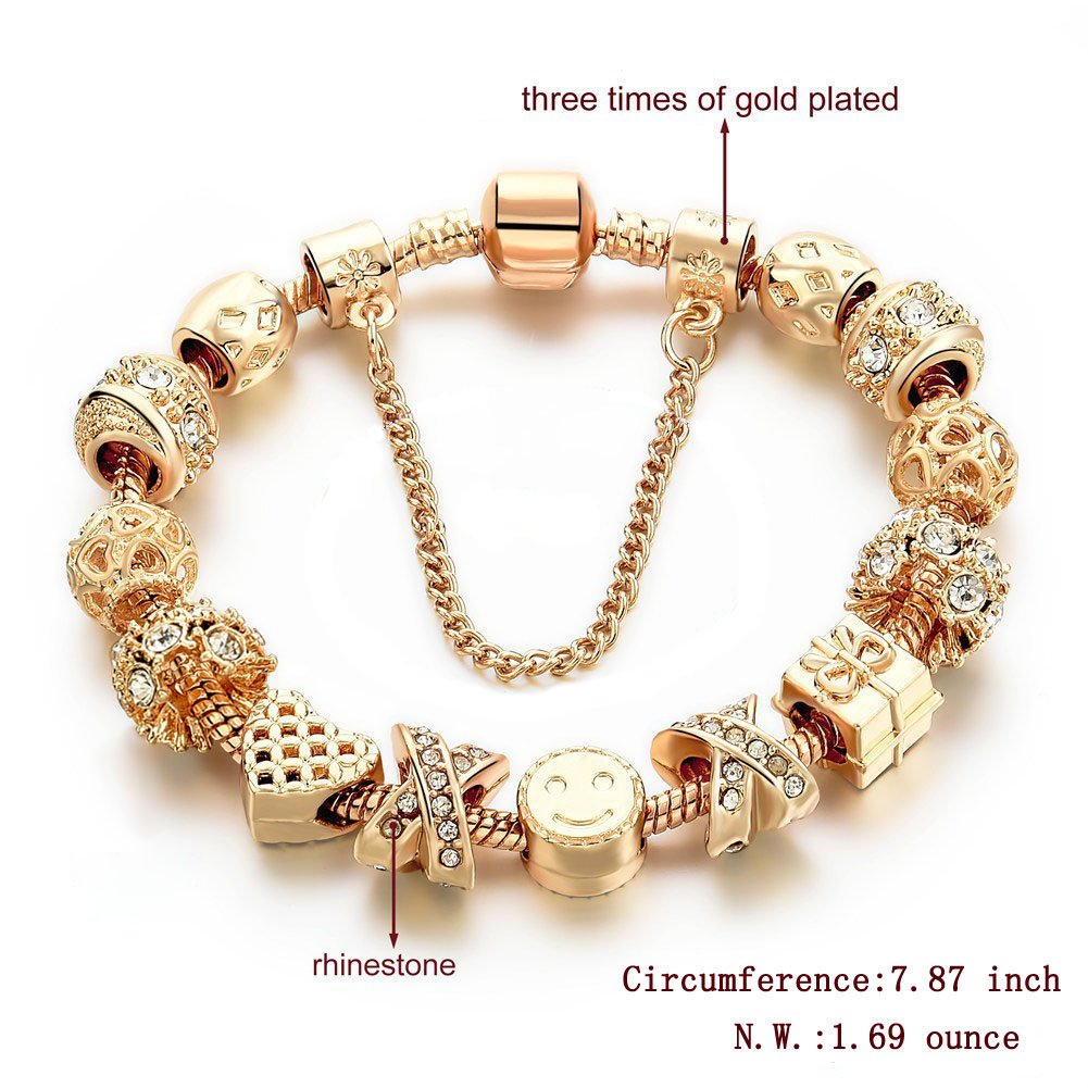 Gold Tone Bracelet Snake Chain Heart Smiley Beaded Charm Bracelets Rhinestone Bangles for Women Teen Girls CHOKER J0116-CRB31-GD