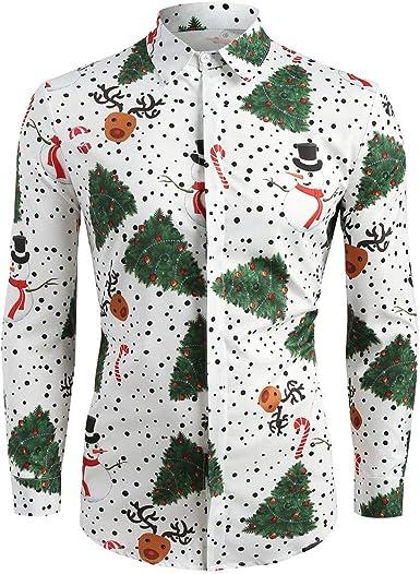 SUCES Camisa Informal para Hombre, diseño de Copos de Nieve, Ciervo Estampado, Camisa para Hombre, Camisa para Navidad, Camisa de Manga Larga: Amazon.es: Ropa y accesorios