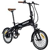 Moma Bikes Bicicleta Electrica, Plegable, Urbana  E-16 TEEN, Aluminio, Bat. Ion Litio 36V 9Ah