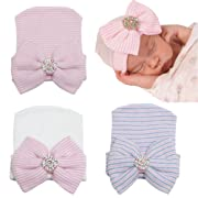 DRESHOW BQUBO 3 Pack Infant Baby Hat Cap Newborn Hospital Hat,Pink, White, Blue Rhinestone,One size