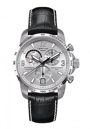 Certina C0016391603700 - Reloj cronógrafo de cuarzo para hombre con correa de piel, color negro: Amazon.es: Relojes