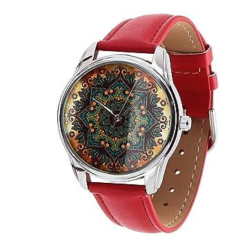 amazon zizゴールドパターンレッドバンドユニセックス腕時計 クォーツ