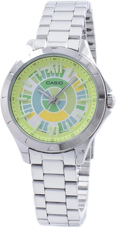 Casio LTP-E129D-3A Women's Stainless Steel Rainbow Green Dial 3-Hand Analog Watch
