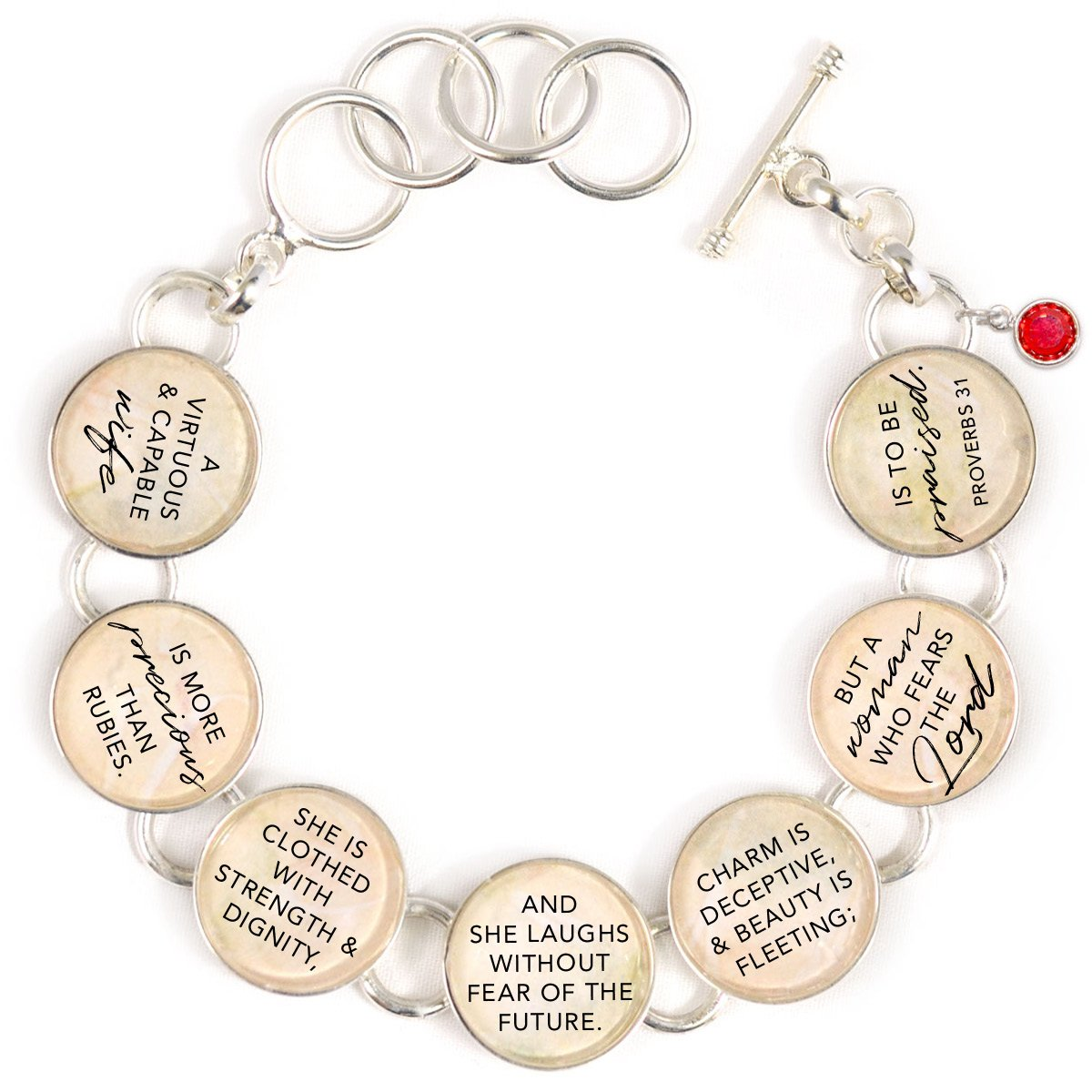 Proverbs 31 Woman Silver-Plated Scripture Charm Bracelet with Ruby-Red Swarovski - 7 Charms, Large (7.5 - 8.5'')