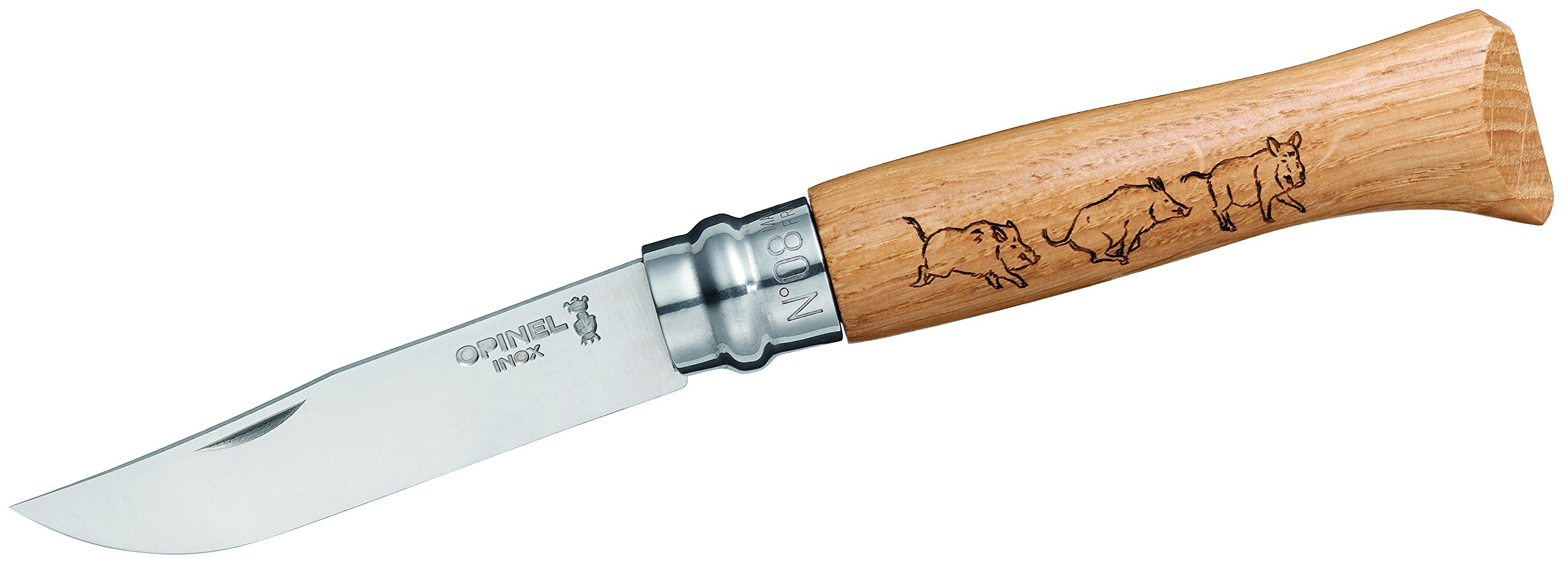 Opinel N Degree8 Stainless Steel Animalia Boar Boxed Stainless Steel Knife, 8.5 cm Blade
