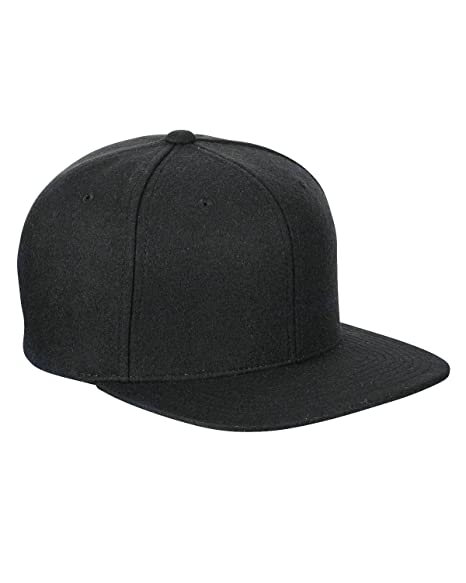 61104764bf8 Amazon.com  Yupoong Melton Wool Snapback Cap 6689M by Flexfit (Black ...