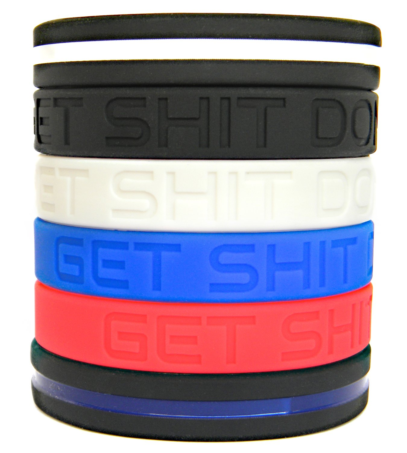 "Motivational Silicone Bracelets Set by Solza |4x ""Get Shit Done"" Silicone Wristbands + Thin Blue Line Bracelet + Thin White Line Bracelet 