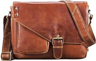 STILORD 'Tim' Messenger Bag Leder für 13,3 Zoll MacBooktasche DIN A4 Herren Damen Vintage Umhängetasche Messengertasche Unitasche Büchertasche Echtleder, Farbe:vegetabil - gegerbt Cognac