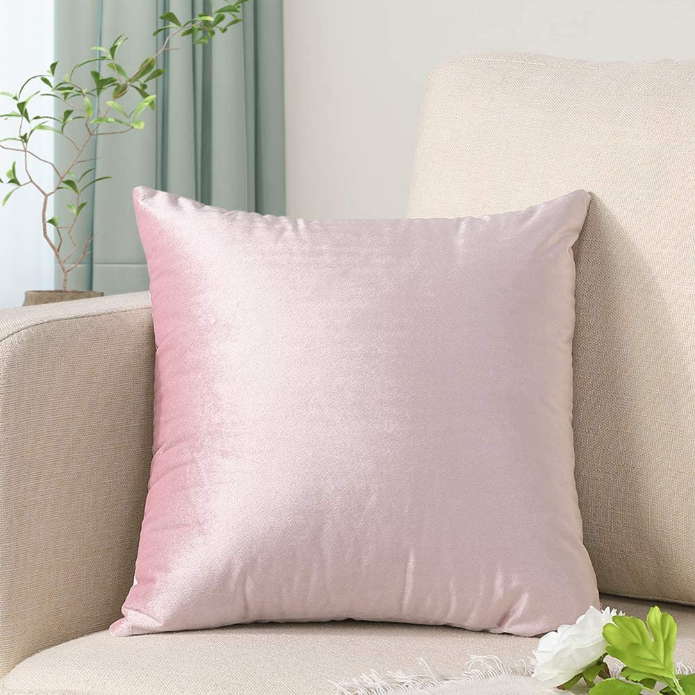 Artscope Luxury Velvet Pillow Covers Super Soft Decorative Square Throw Pillow Covers Case Cushion Covers for Sofa Couch Bedroom Car Decor 24x24 Inch Bright Pink