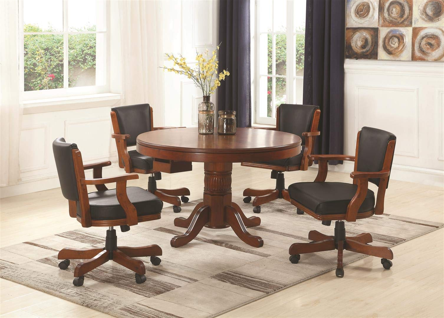 Coaster Home Furnishings Mitchell 5-Piece Game Table Dining Set Merlot and Black by Coaster Home Furnishings