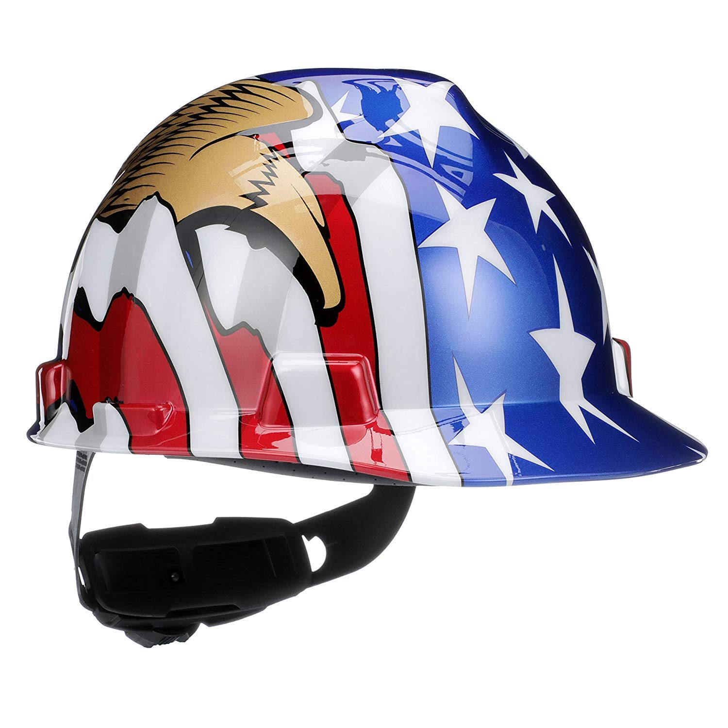 MSA 10052947 V-Gard Hard Hat Front Brim with Ratchet Suspension, Standard, American Flag w/ 2 Eagles (36 Pack) by ISP by MSA (Image #1)