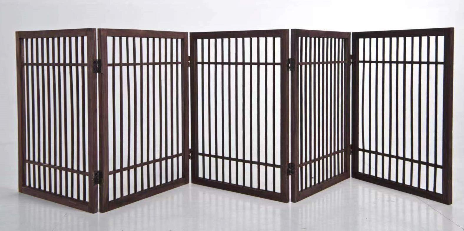 5 Panel Solid Wood Folding Pet Dog Gate Strong and Durable with 2 Way Hinges