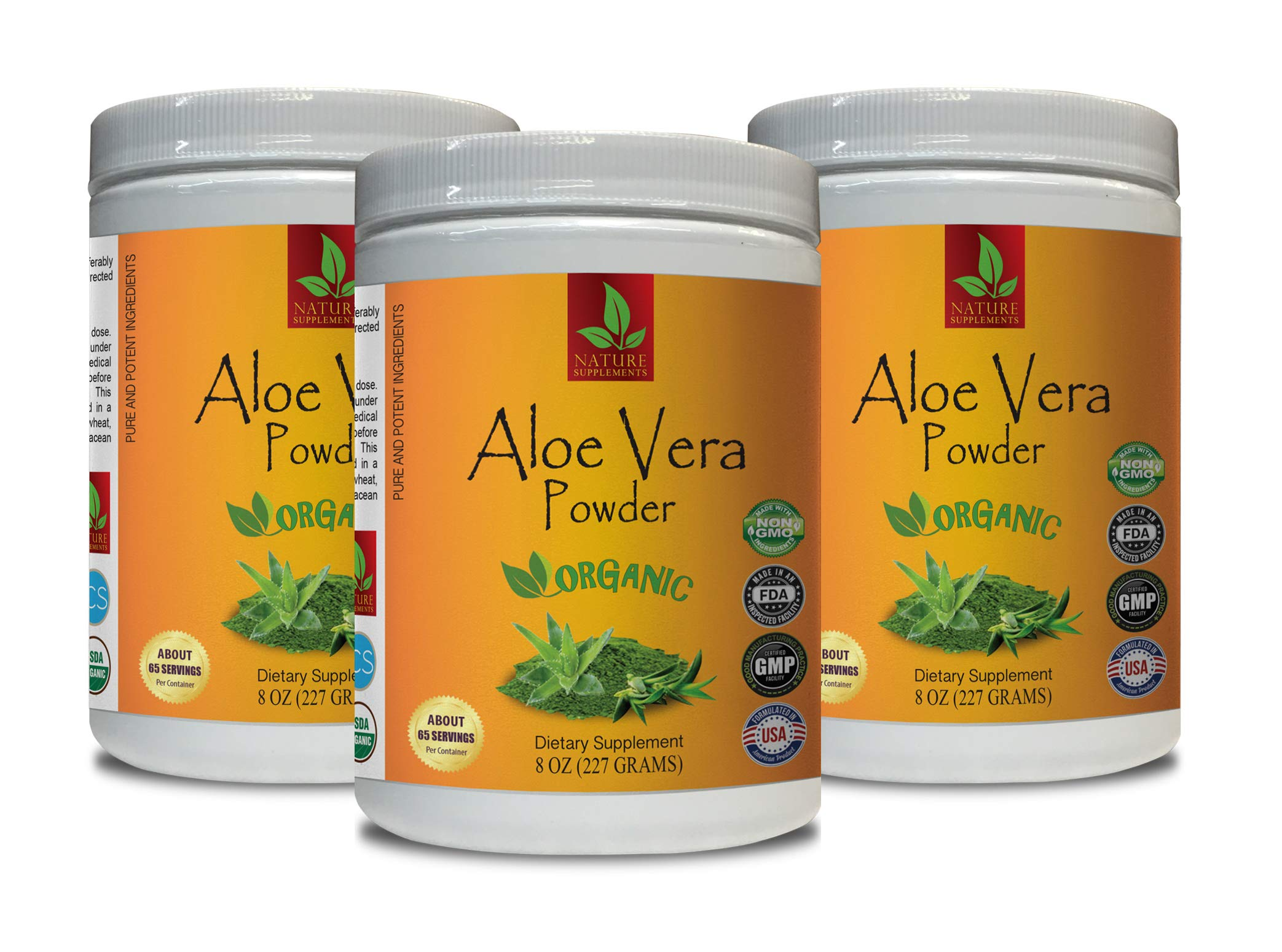Organic Immune Boosting Supplements - Aloe Vera Organic Powder - Pure and Potent Ingredients - Aloe Vera Vitamins - 3 Cans 24 OZ (195 Servings)