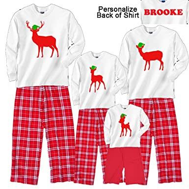 788b0ae44 amazoncom footsteps clothing personalized holiday deer family matching  christmas adult pajamas kids playwear buck doe fawn
