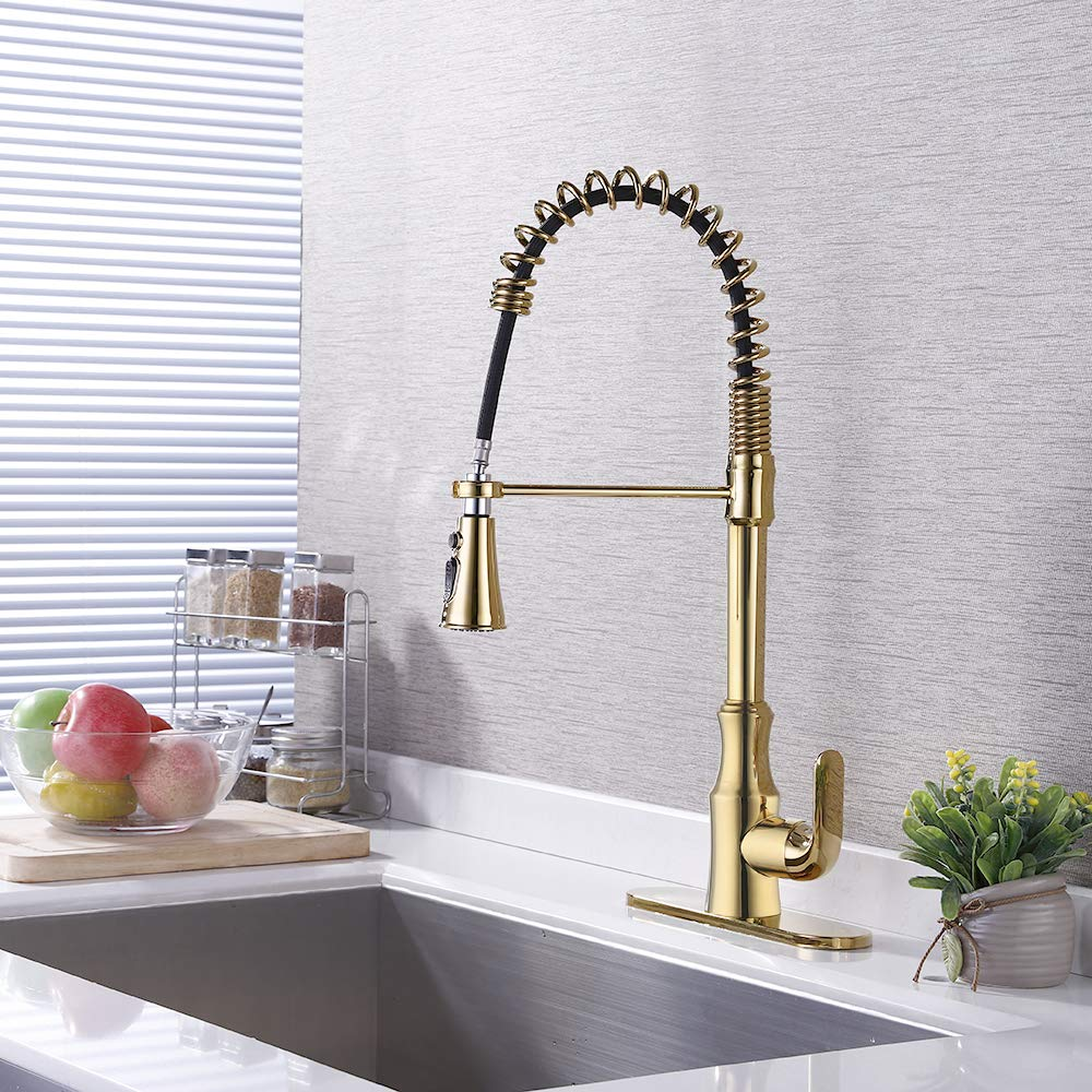 KES cUPC NSF Certified BRASS Singel Handle Pull Down Kitchen Faucet with Retractable Pull Out Wand, High Arc Swivel Spout, Titanium Gold, L6936BLF-PG by Kes (Image #10)