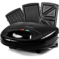Ovente 3-in-1 Electric Sandwich Maker with Detachable Non-Stick Waffle and Grill Plates, 750-Watts, LED Indicator Lights, Cool Touch Handle, Anti-Skid Feet, Black (GPI202B)