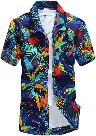Hombre Camisa Hawaiana Playa De Verano Manga Corta Cuello Solapa Un Solo Pecho Camisas Moda Hippies Hojas Impresión Tops: Amazon.es: Ropa y accesorios