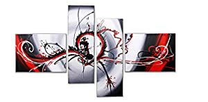 LynHee Modern Paintings 4 Panels Abstract Stretched and Framed Artwork 100% Hand Painted Contemporary Oil Paintings on Canvas Wall Art Wall Decorations For Living Room Bedroom Kitchen