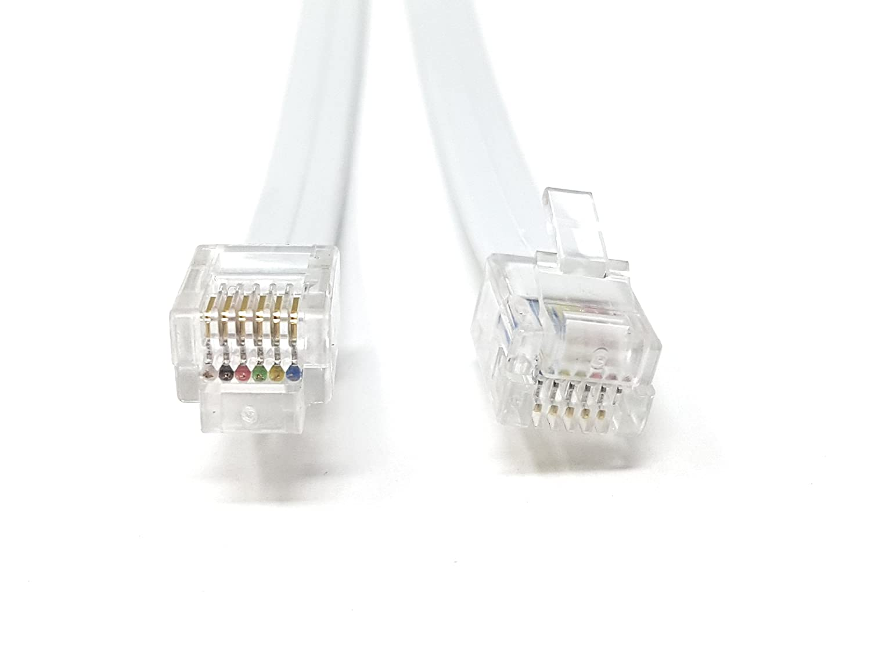 m disponible en 0,30 m, 0,50, 2 m, 3 m, 5 m, 10 m p.s. RJ11 a RJ11 con 6 cables 6P6C 0.30m Cable de cable // n/úcleo largo FLAT RJ12 a RJ12