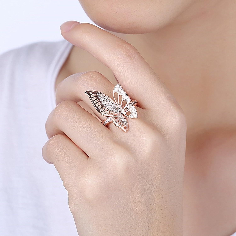 Adisaer Joyería Anilloe Cobre Damas Oro Rosa Mariposa Diamante ...
