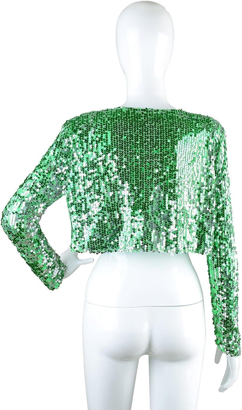 Anna-Kaci Womens Shiny Sequin Long Sleeve Cropped Blazer Bolero Shrug