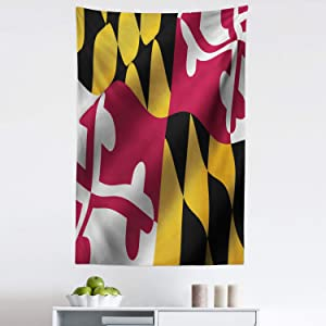 Lunarable American Tapestry, Flag of The US State of Maryland Closeup 3D Style Picture Waving America National, Fabric Wall Hanging Decor for Bedroom Living Room Dorm, 30