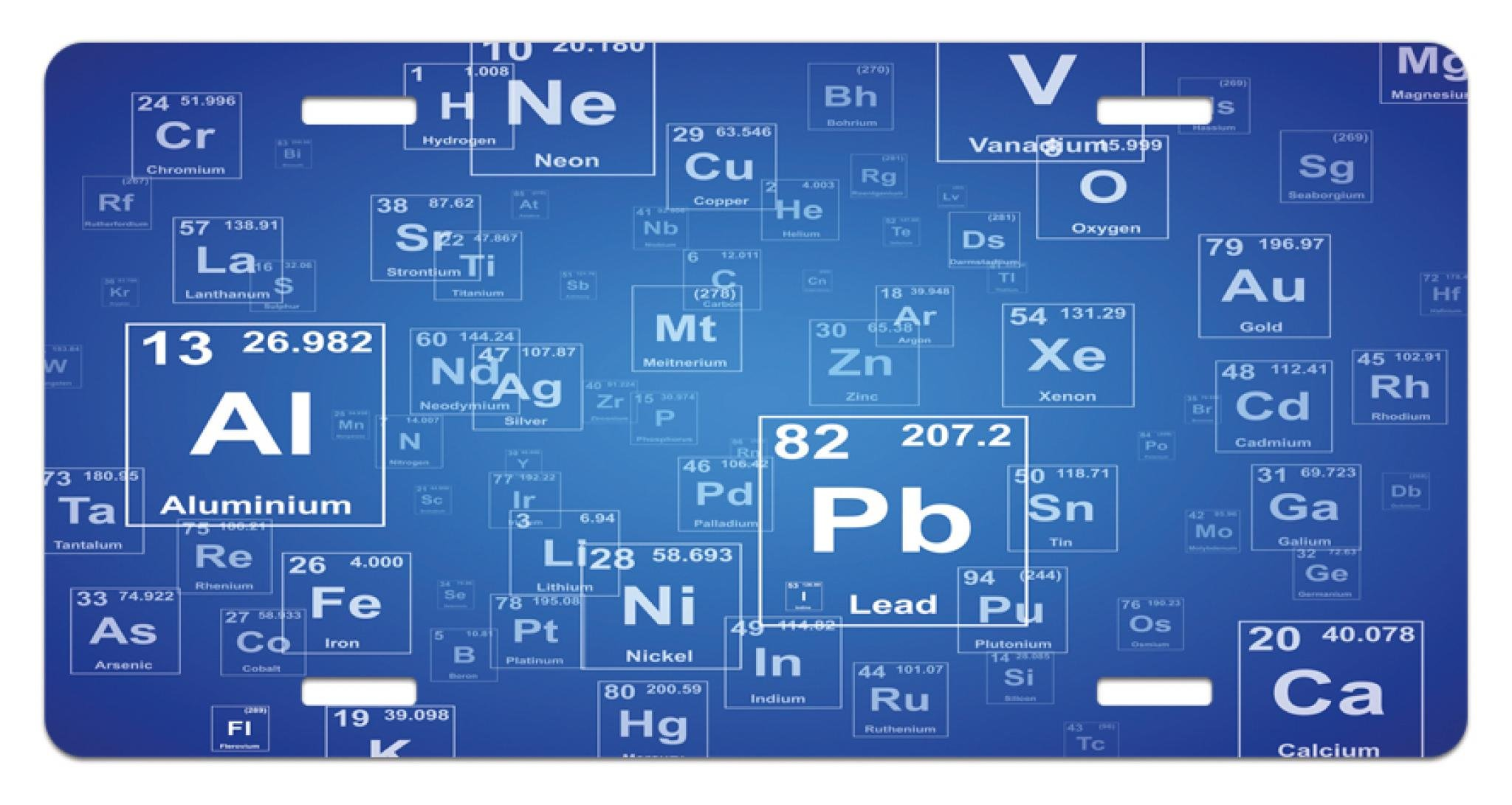 Ambesonne Science License Plate, Chemistry Tv Show Inspired Image with Periodic Element Table Image Print Art, High Gloss Aluminum Novelty Plate, 5.88 L X 11.88 W Inches, Blue and White