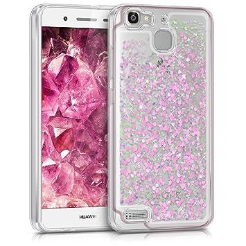 kwmobile Funda compatible con Huawei GR3 / P8 Lite SMART - Carcasa de [TPU] para móvil - Cover [trasero] en [rosa fucsia / transparente]
