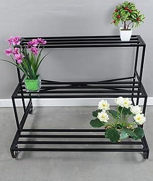 soporte macetas estanterias para macetas Sujetador de la flor del hierro, estante multi de los potes ...