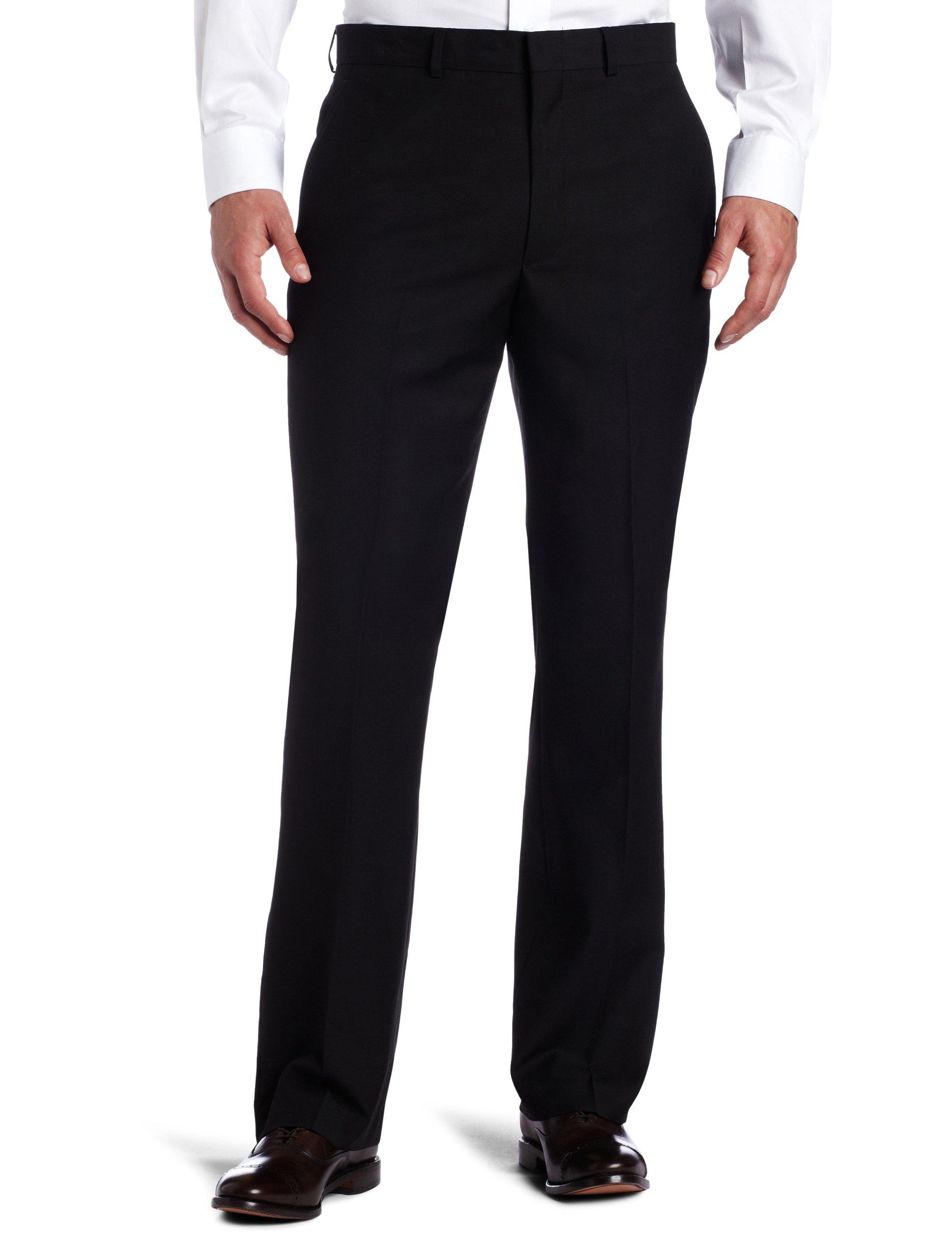 Kenneth Cole REACTION Men's Black Solid Suit Separate Pant, Black, 42x32