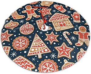 N/W Christmas Tree Skirt, 48 Inch, Gingerbread Cookies Tree Skirts for Holiday Party Christmas Decorations Tree Mat Indoor Outdoor