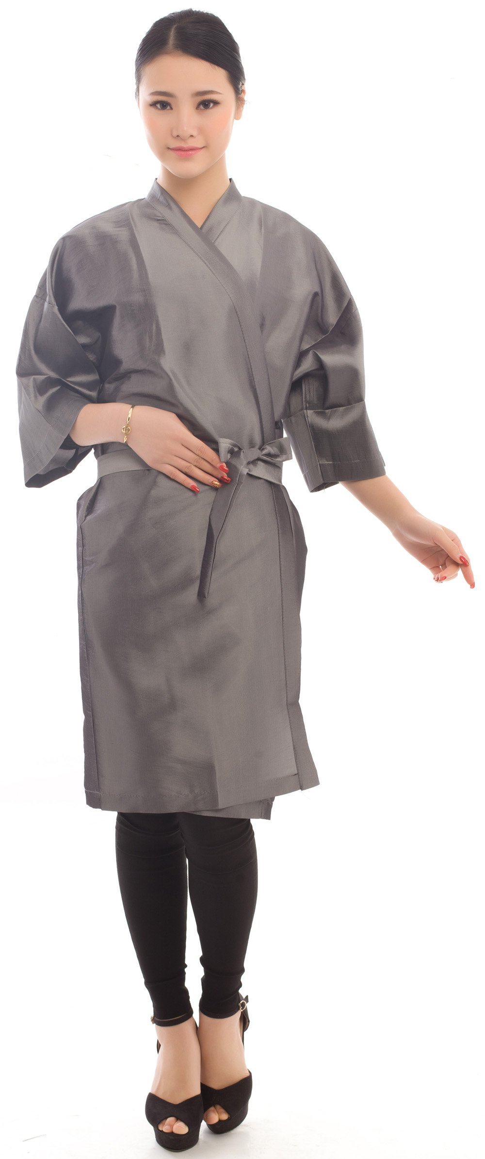 Salon Client Gown Robes Cape, Hair Salon Smock for Clients- Kimono Style (Grey)