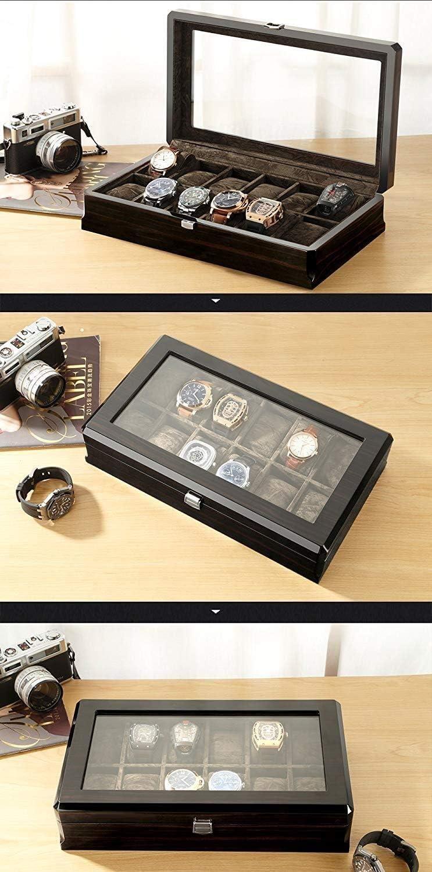 SLRMKK Watch Winders Watch Boxes, für 12 Uhren Display Storage Box Schmuck Uhrenbox Organizer Display Boxen mit Pillows Holders schwarz Schwarz