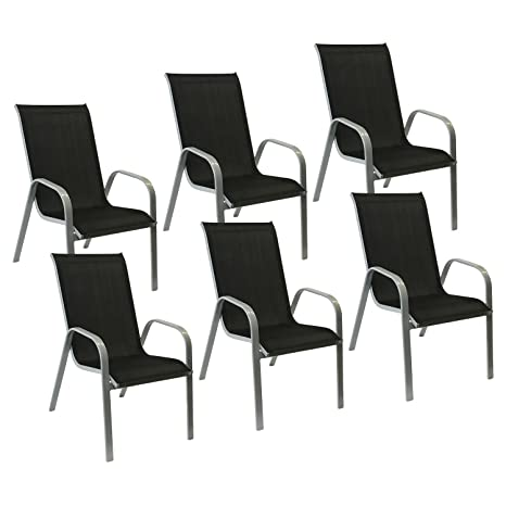 Happy Garden Lot de 8 chaises Marbella en textilène Blanc ...