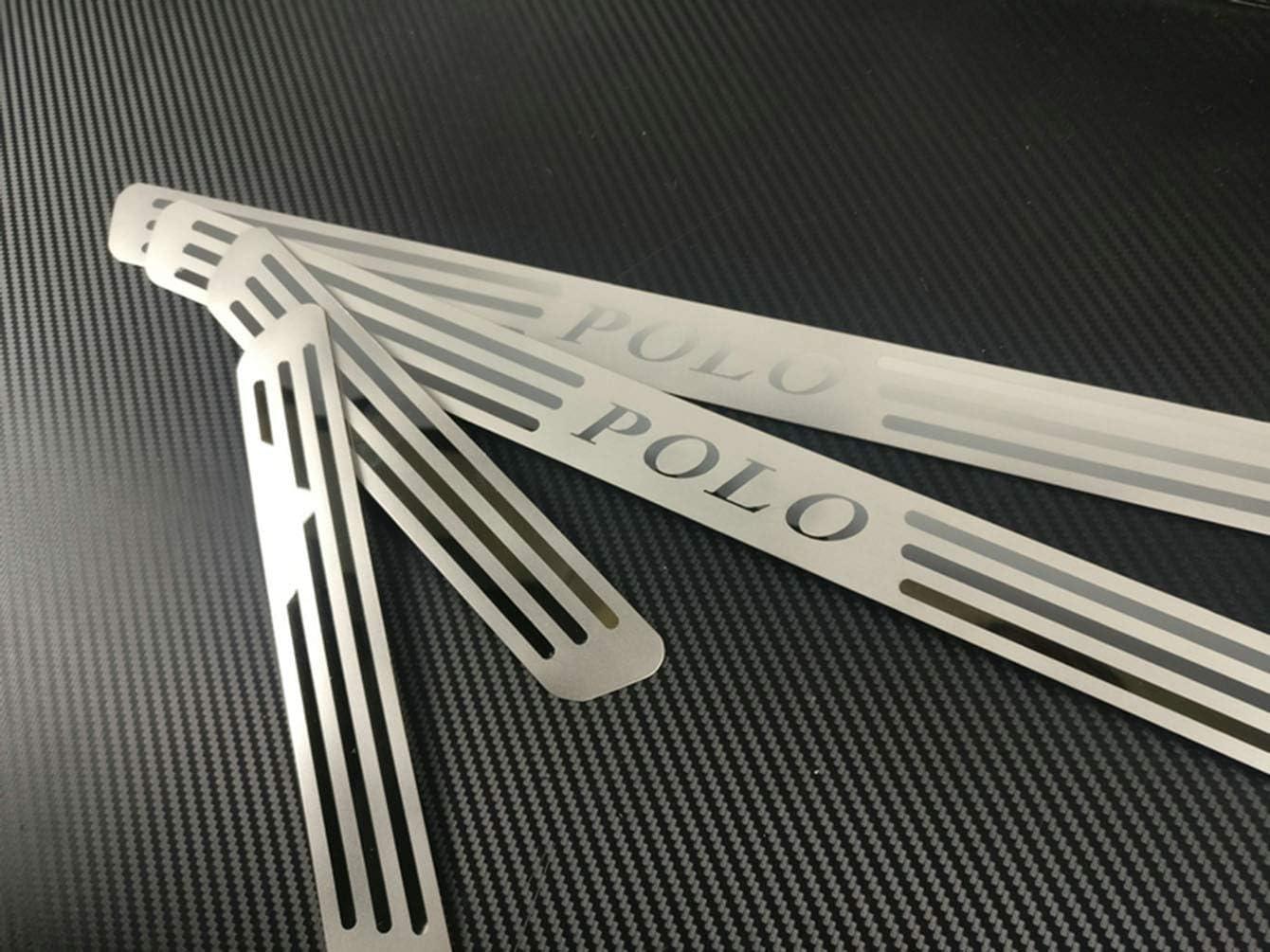 WFLOV Strisce di Protezione del davanzale della portiera dellauto,per Volkswagen Polo 2009 2010 2011-2017 4 Pezzi. Piastre in Acciaio Inossidabile Antiscivolo Accessori AntiGraffio