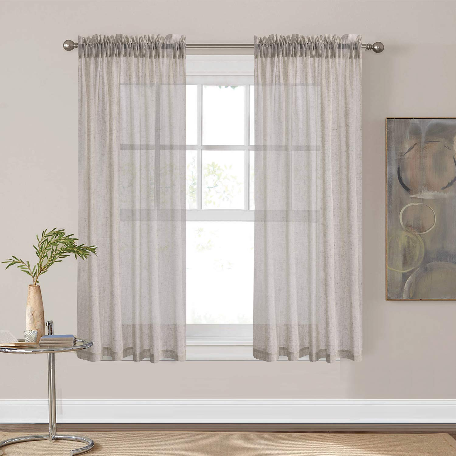 HOME BRILLIANT Soft Natrual Linen Sheer Curtains Premium Window Drapery for Bedroom, 2 Panels, 54 x 63 inches