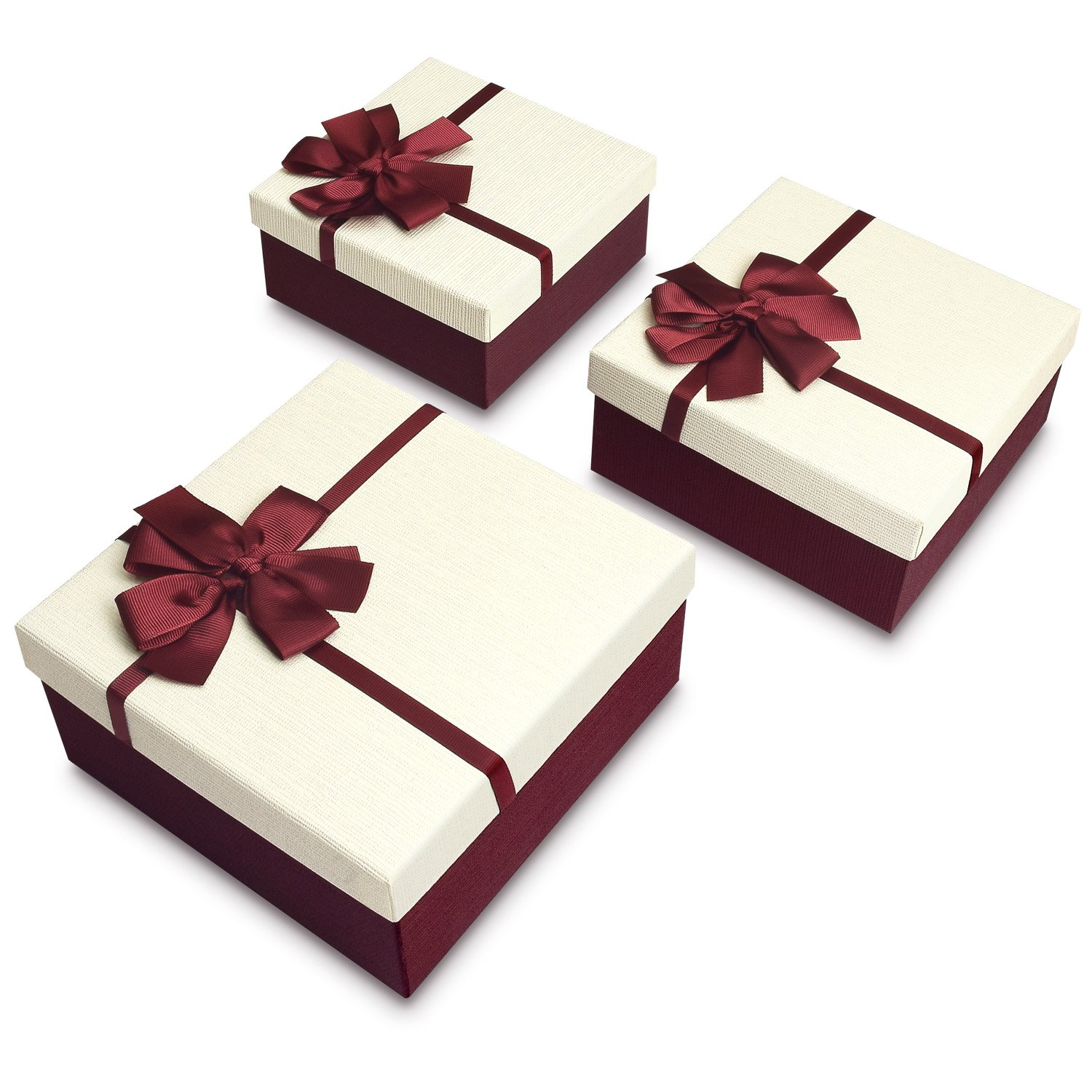 Square Nesting Gift Boxes, A Set of 3, White Color with A Ribbon Bowtie