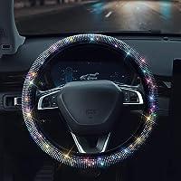 Shering Bling Rhinestones Steering Wheel Cover with Crystal Diamond Sparkling Car SUV Breathable Anti-Slip Steering…
