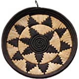 African Basket Round Display Tray Exquisite Hand Woven Black Raffia Natural Grass w Banana Fiber