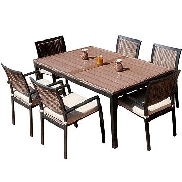RST Brands Outdoor OP ALTS7 ZEN Dining Set Patio Furniture 7 Piece