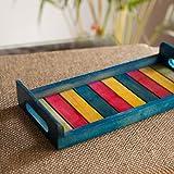 ExclusiveLane Decorative Kitchen Organizer Breakfast Wooden Serving Tray (33 cm x 15.2 cm x 4.6 cm, Blue, Set of 1)