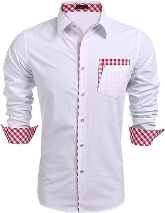 Coofandy - Camisa casual - Manga Larga - para hombre blanco S: Amazon.es: Ropa y accesorios